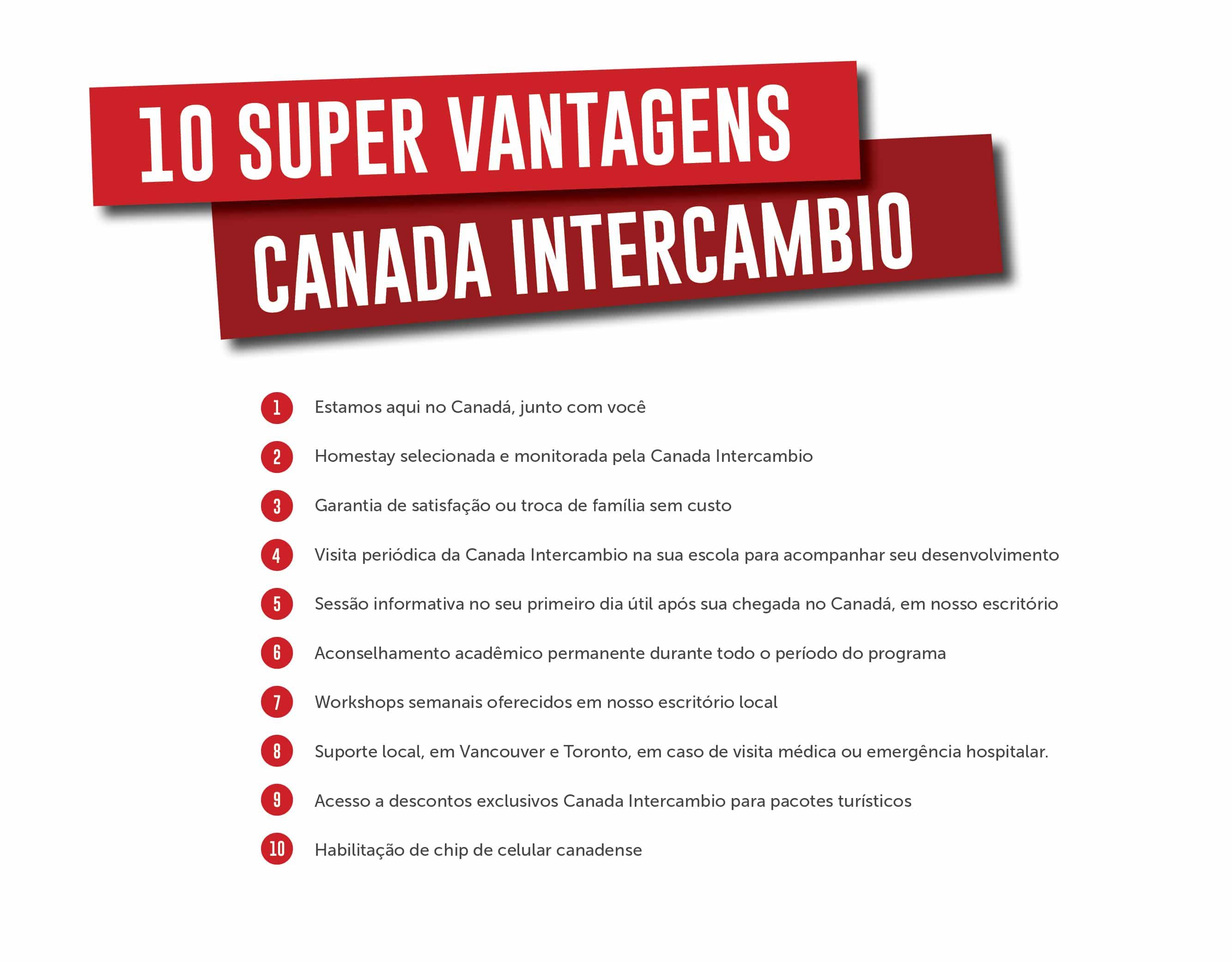 10 vantagens da Canada Intercambio